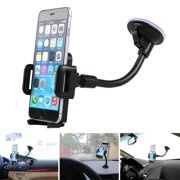 TSV Universal Car Windshield Dashboard Suction Cup 360 Degree Mount Holder Stand for Cellphones iPhone Android, Long Arm Car Phone Holder Windscreen Car Cradle