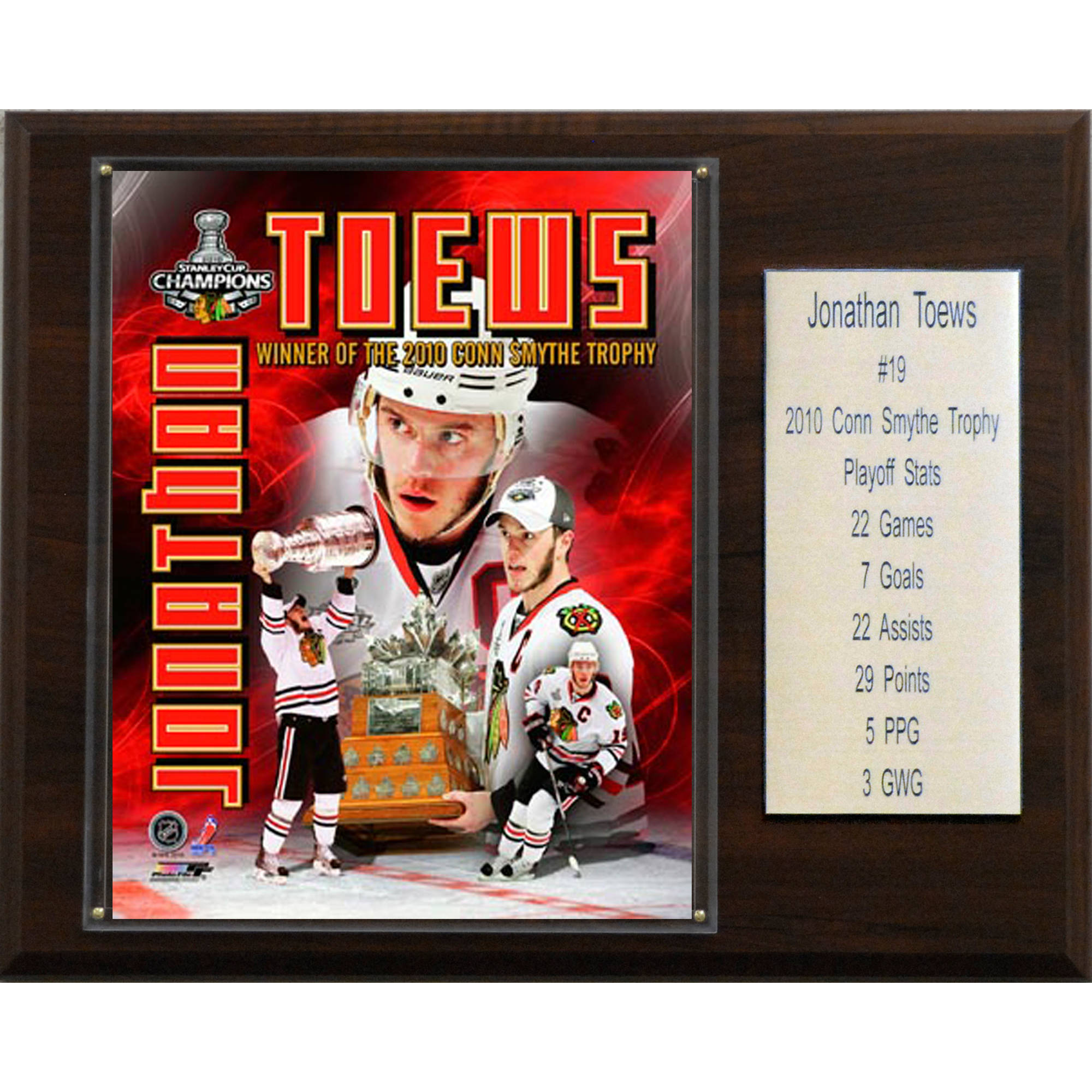 C&I Collectables NHL 12x15 Jonathan Toews with Stanley Cup Chicago Blackhawks Player Plaque