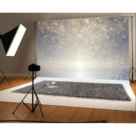 GreenDecor Polyester Fabric 7x5ft Photography Backdrop Glitter Vintage Lights Background Defocused Boken Glitter Sparkle Scene Photo Background Children Baby Adults Portraits Backdrop](Glitter Chevron Background)