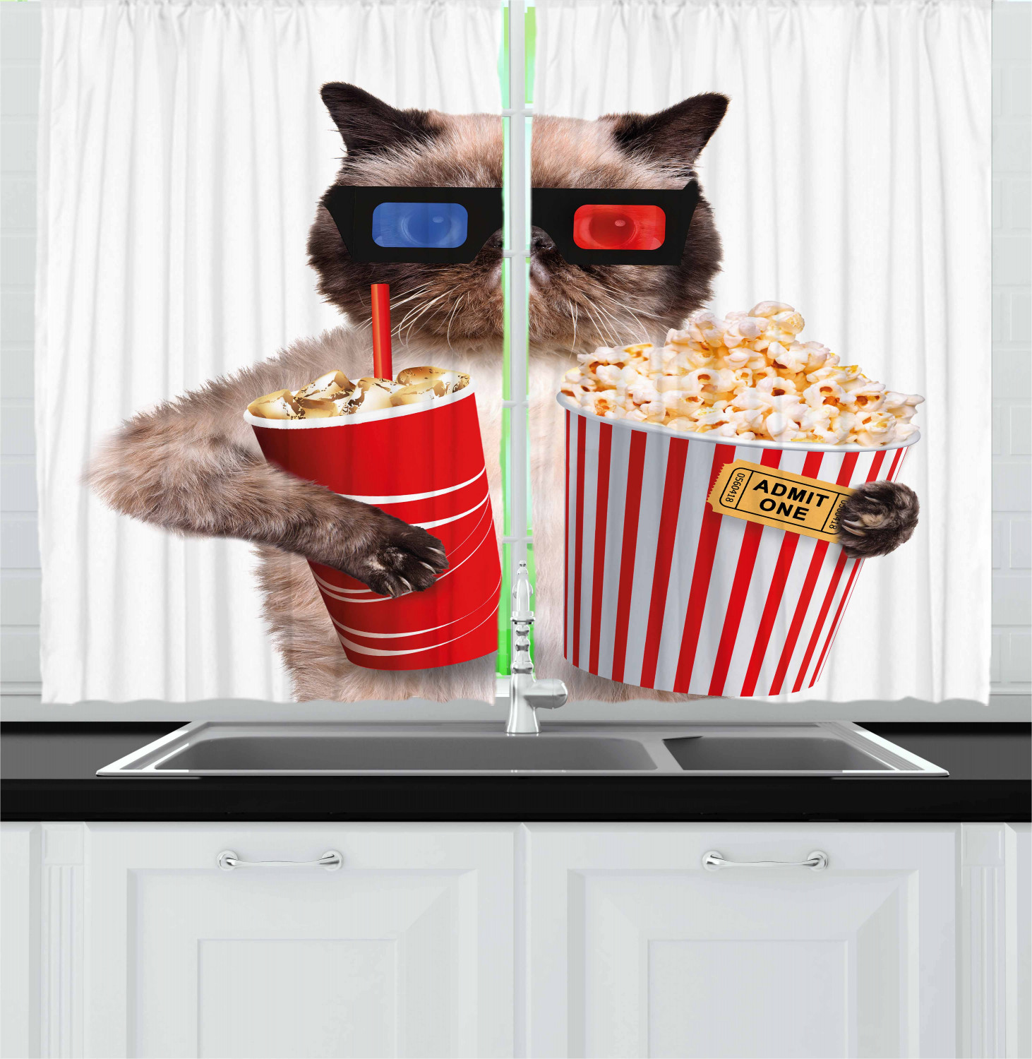 Movie Theater Curtains 2 Panels Set Cat With Popcorn And Drink Watching Movie Glasses Entertainment Cinema Fun Window Drapes For Living Room Bedroom 55w X 39l Inches Multicolor By Ambesonne Walmart Com