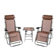 Ktaxon 3 PCS Zero Gravity Chair Patio Chaise Lounge Chairs Outdoor Yard Pool Recliner Folding Table Chair Set Brown