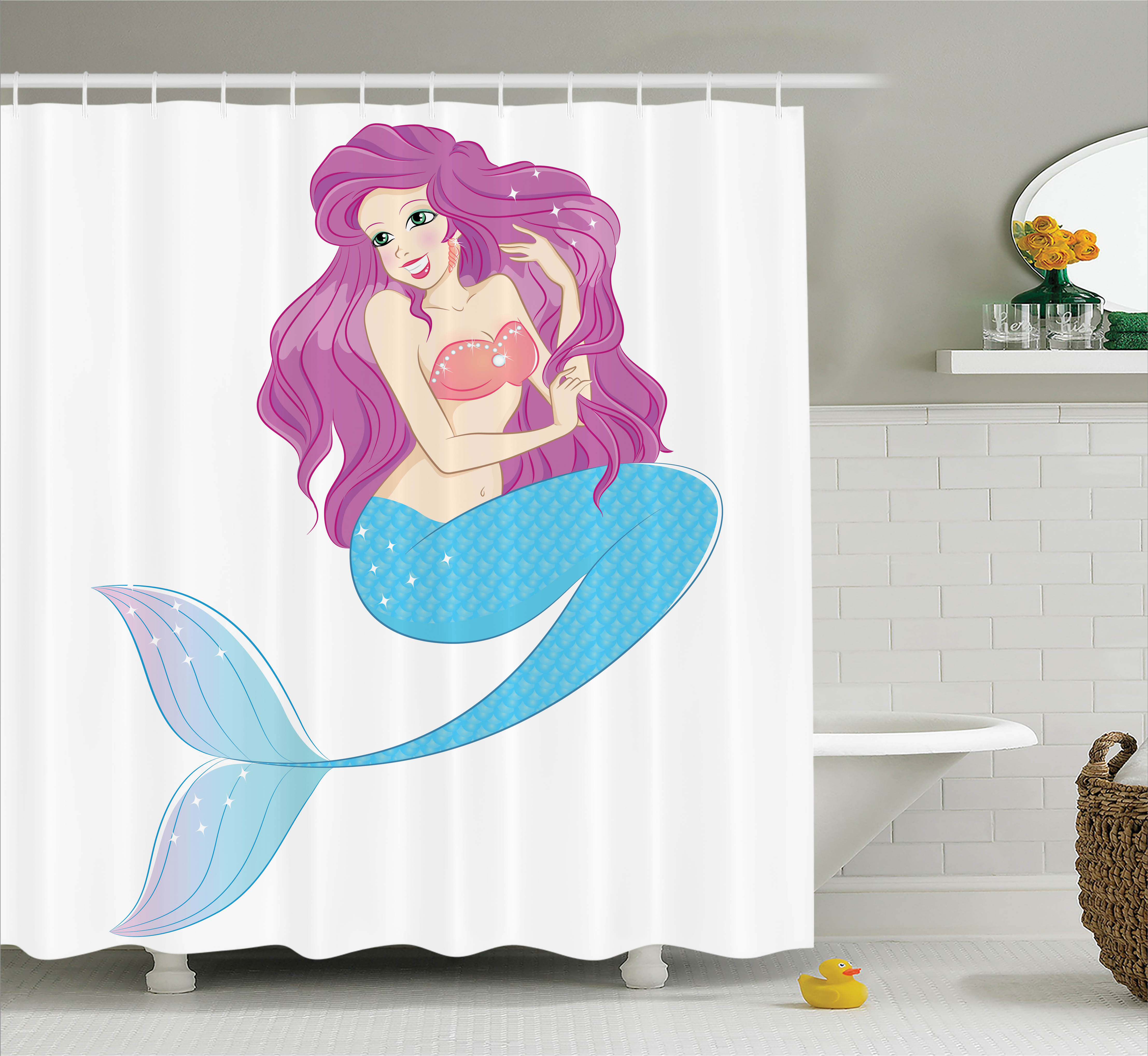 Girl Shower Curtain Set, Cute Mermaid Playing with Her Hair Folkloric Mythical Goddess Princess Image, Bathroom Decor,  Turquoise Fuscia White, by Ambesonne
