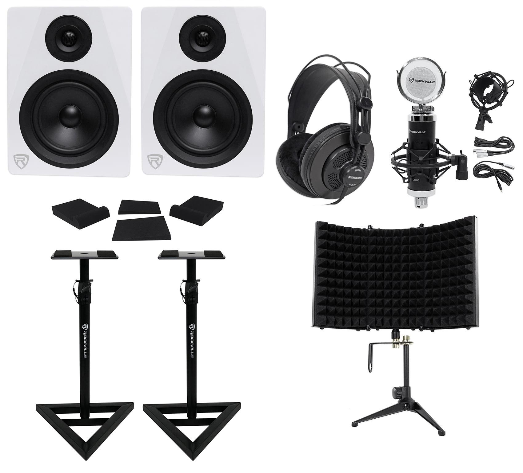 "2 Rockville DPM5W 5.25"" 300w Active Studio Monitors+Stands+Headphones+Mic+Shield by ROCKVILLE"