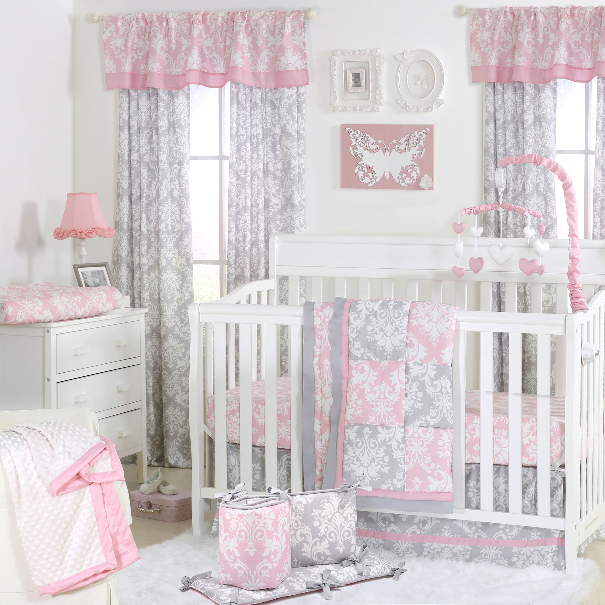 The Peanut Shell 5 Piece Baby Crib Bedding Set - Pink and Grey Damask Patchwork - 100% Cotton Quilt, Bumper, Dust Ruffle, Fitted Sheet, and Mobile