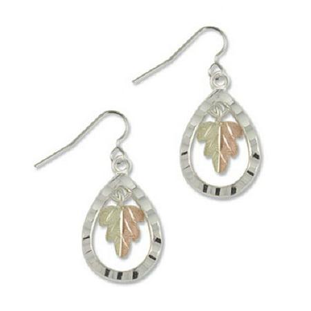 Landstroms Black Hills Teardrop Earrings in Sterling Silver with 12k Gold Split (Black Hills Gold Brooch)