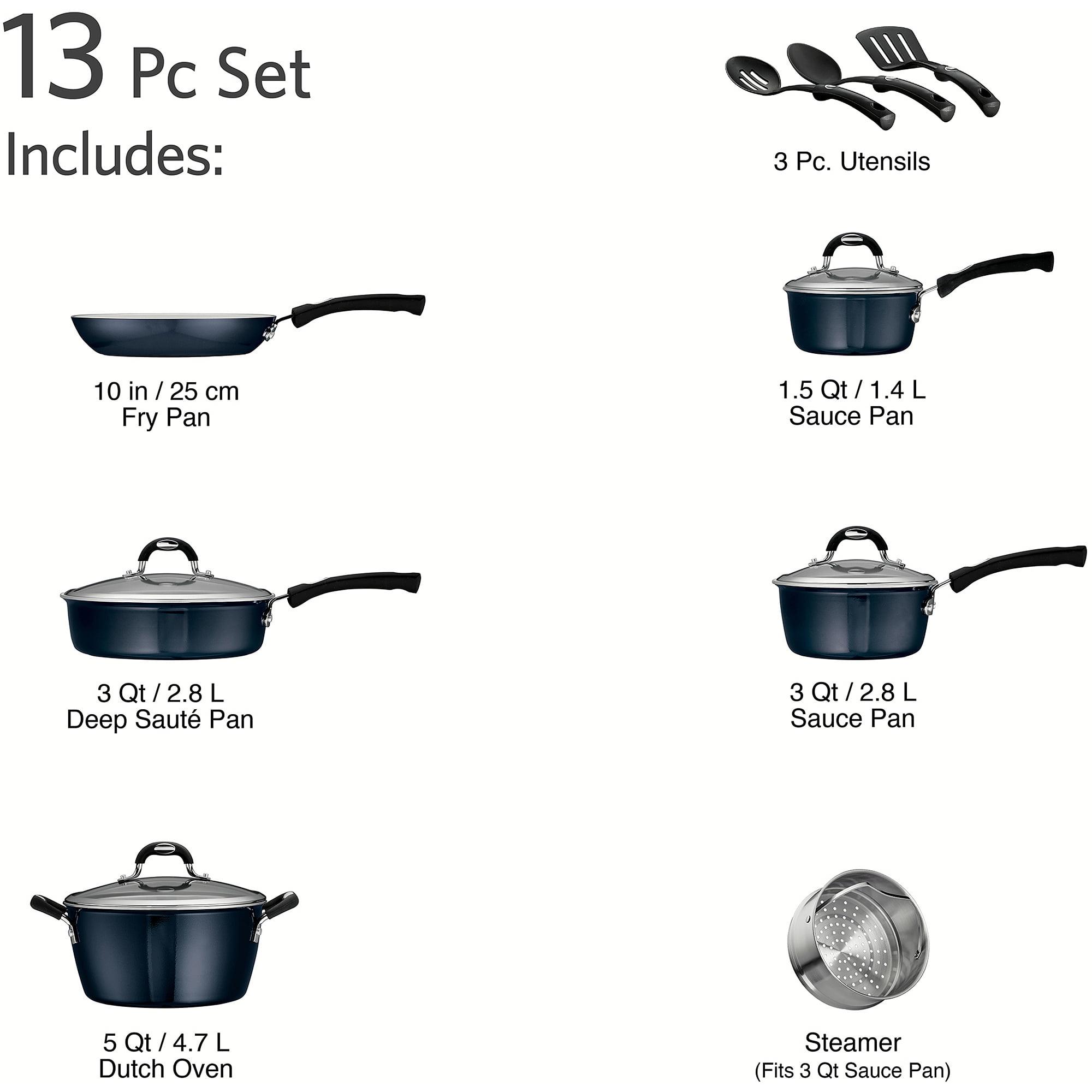Tramontina 13-Piece Style Non-Stick Cookware Set, Cobalt Blue ...