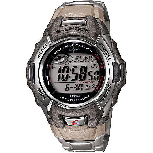 Men's Solar Atomic G-Shock Watch, Stainless-Steel Bracelet