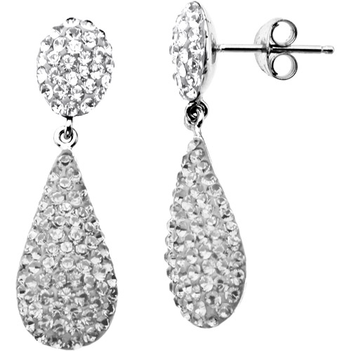 Luminesse Sterling Silver White Drop Earrings made with Swarovski Elements