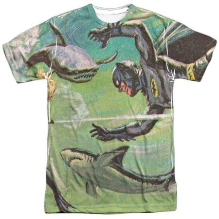 Batman Classic TV Series Shark Fight Drawing Adult 2-Sided Print T-Shirt - Batman Items For Adults