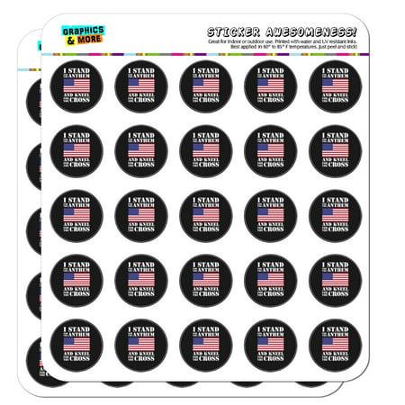 Pack Laser Stickers Flag Design - I Stand For The Flag Kneel Cross USA American Flag Patriotic 1
