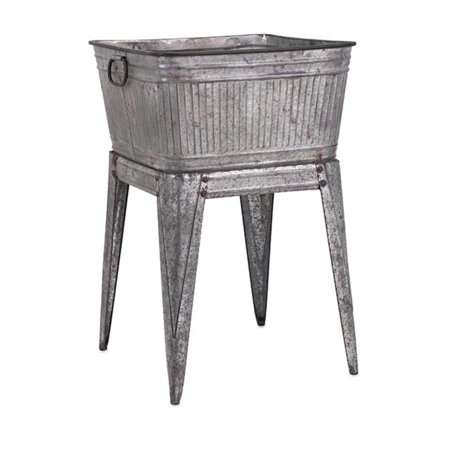 32 Rustic Silver Galvanized Metal Outdoor Patio Garden Flower Planter Tub With Handles On Stand