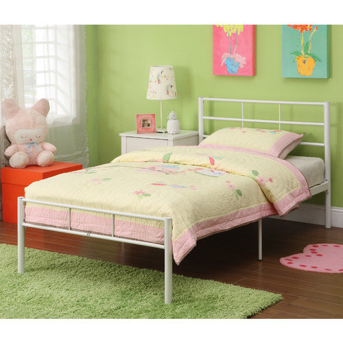 Twin Metal Bed Frame, White