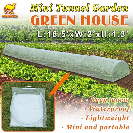 Strong Camel 16.5' x 2' x 1.3' Easy Poly Plant Grow Tunnel Greenhouse Garden Easy Pop Up Greenhouse