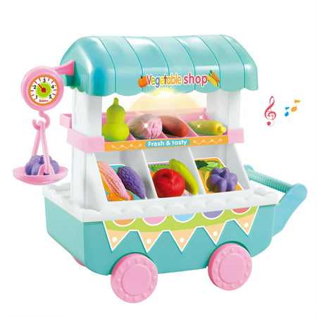 Ice Cream Vegetable Trolley Carts Pretend Play Set for Baby Kids with Music Light Best Gift for Boys and