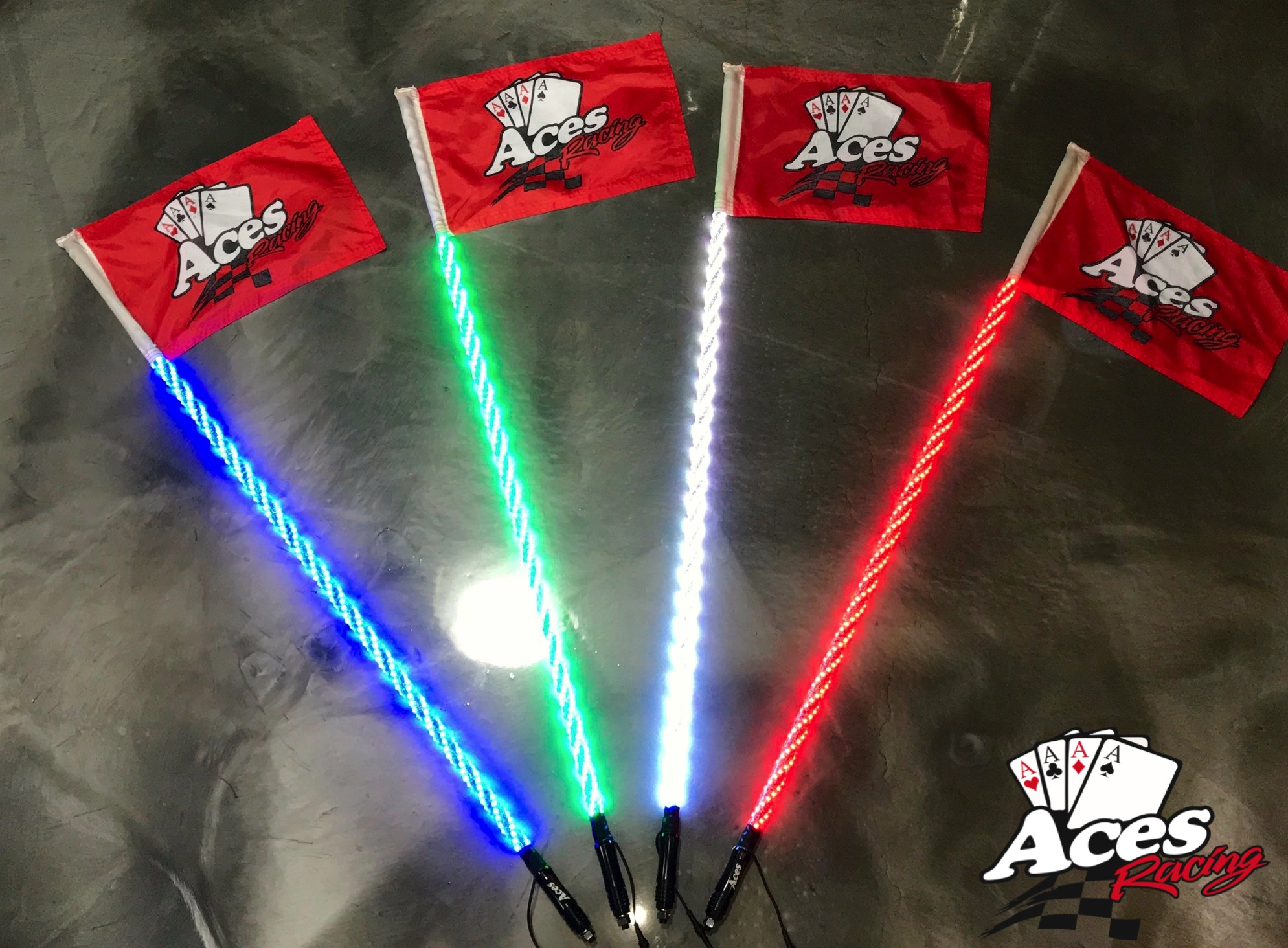 4ft Deluxe Style Spiral Lighted LED Whip 400 Color Combinations /& Aces Flag