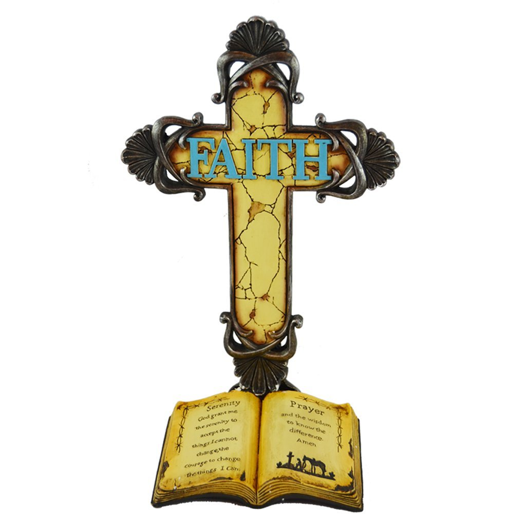 "Pine Ridge Tabletop Serenity Prayer Standing Christian Cross Turquoise Inscribed ""Faith"" With An Open Bible - Religious Centerpiece Resin Wall Western Decor Holy Cross - Catholic Crucifix Baptism Gift"