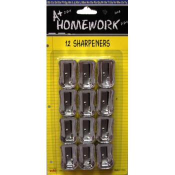 Pencil Sharpeners - 12 pack - silver plastic Case Pack 48