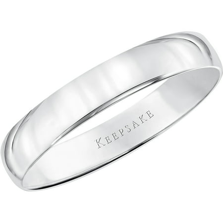 10kt White Gold Wedding Band, 4mm