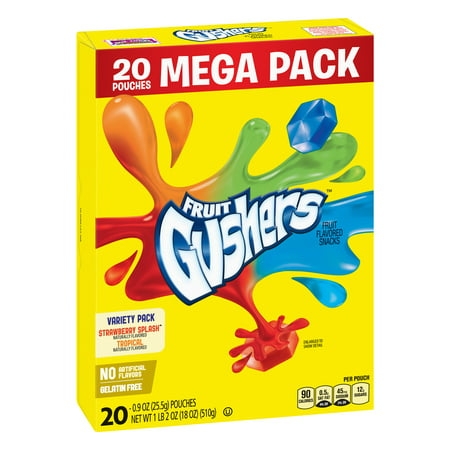 Betty Crocker Fruit Snacks, Gushers, Mega Pack, Variety Snack Pack, 20 Pouches, 0.9 oz Each for $<!---->