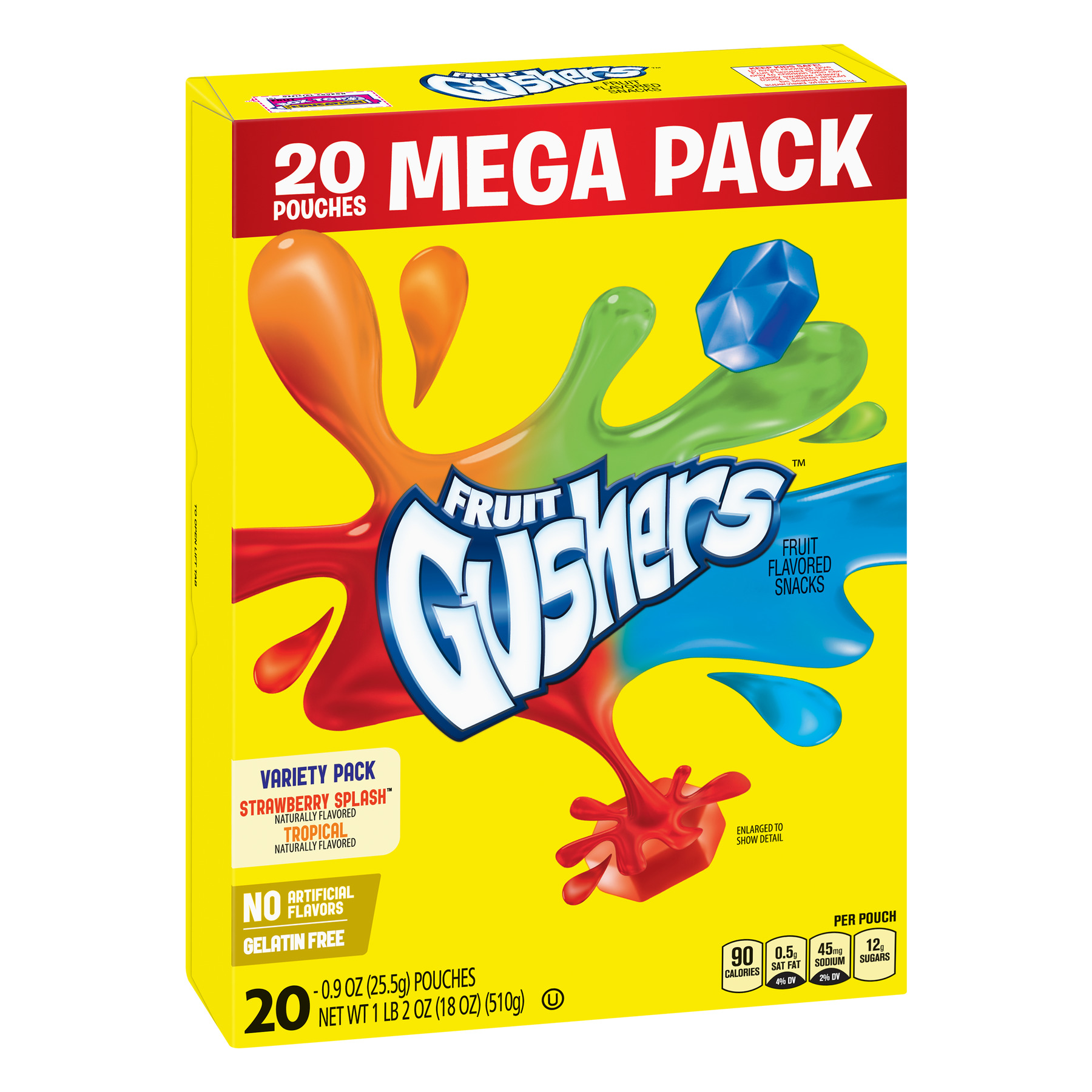 Fruit Gushers Fruit Flavored Snacks Pouches Variety Pack, 0.9 Oz., 20 Count