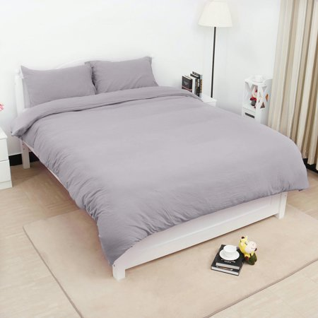 Solid Washed Cotton 3-Piece Duvet Cover Set Bedding Sets Single,Double,Queen,King Size ()