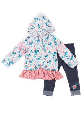 Little Lass Floral Varsity Stripe Top and Knit Denim Leggings, 2pc Outfit Set (Toddler Girls)
