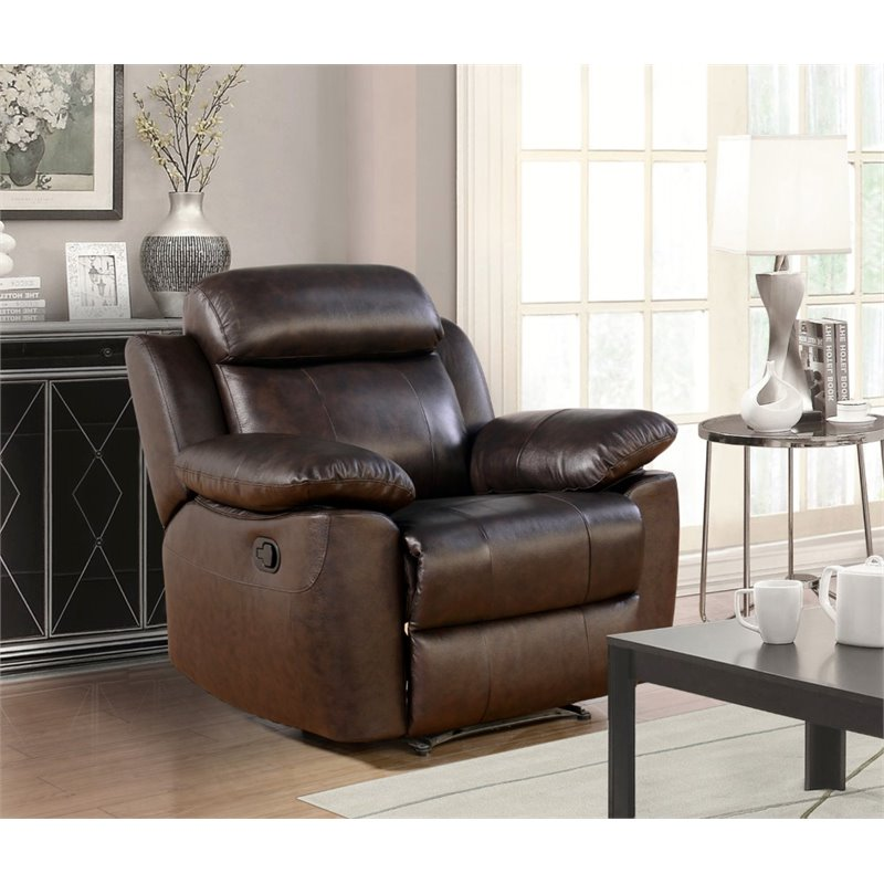 Abbyson Brody Top Grain Leather Recliner in Brown