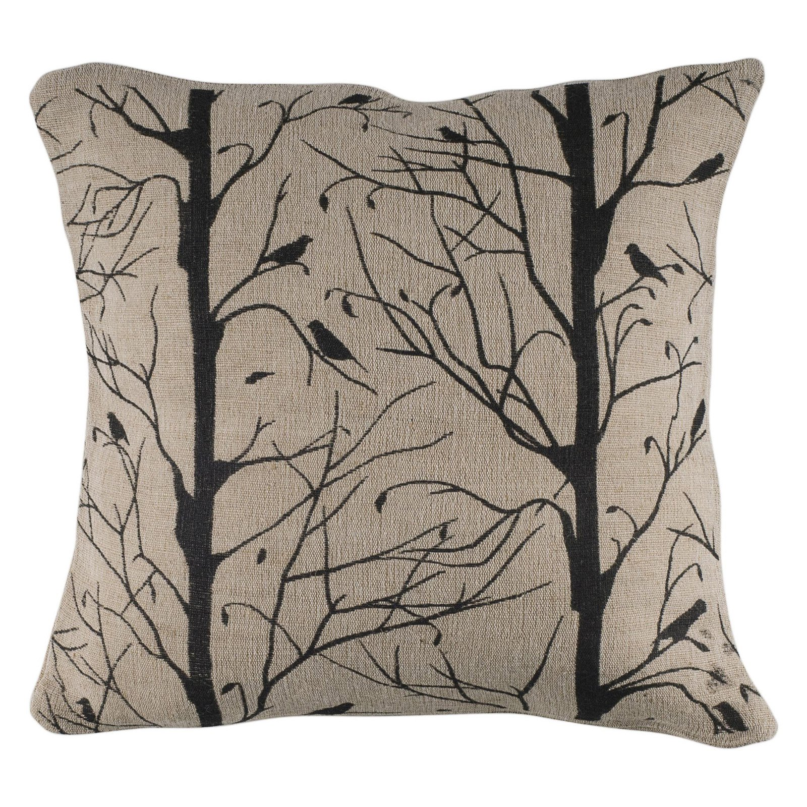 "Rizzy Home Trees With Birds Poly Filled Decorative Throw Pillow, 18"" x 18"", Black"