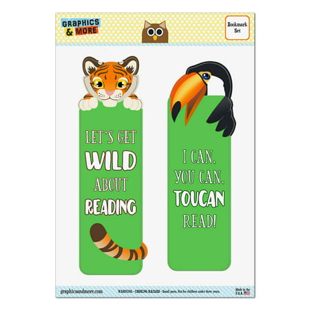 Tiger Get Wild About Reading Toucan I Can You Can Toucan Read Set of 2 Bookmarks ()