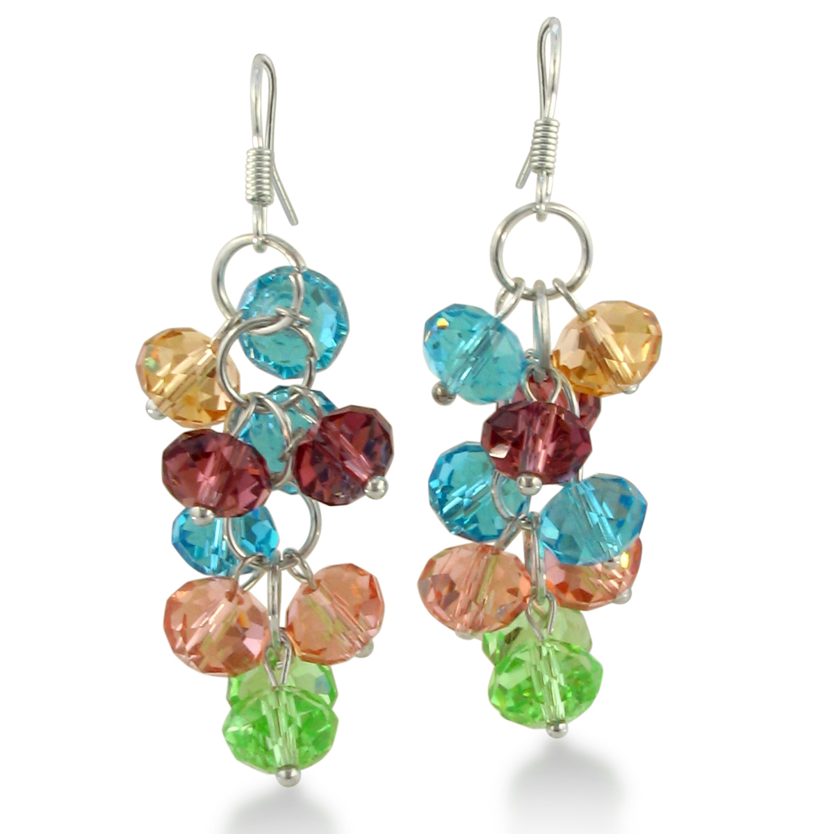 Multi-Color Crystal Dangle Earrings