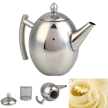 Tea Pot, Satin Polish Stainless Steel Insulated Teapot Coffee Tea Kettle Pot with Lid, Teapot Coffee Pouring Pot with Tea Infuser Strainer, Mirror Finish, 35 Oz/1 Liter