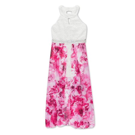 Lace Floral Walk-Thru Occasion Dress (Big Girls) - Floral Occasion Dress