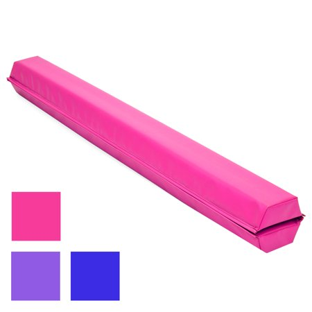 Best Choice Products 9ft Full Size Folding Floor Balance Beam for Gymnastics and Tumbling w/ Medium-Density Foam, 4in Wide Surface, Non-Slip Vinyl - Pink