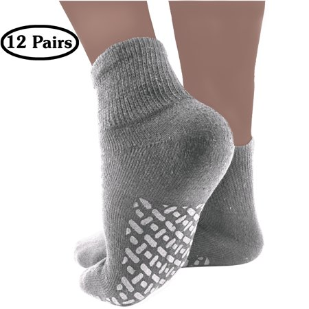 Diabetic Socks Mens Womens Non-slip Grip Cotton 12-Pack Ankle Grey By DEBRA WEITZNER