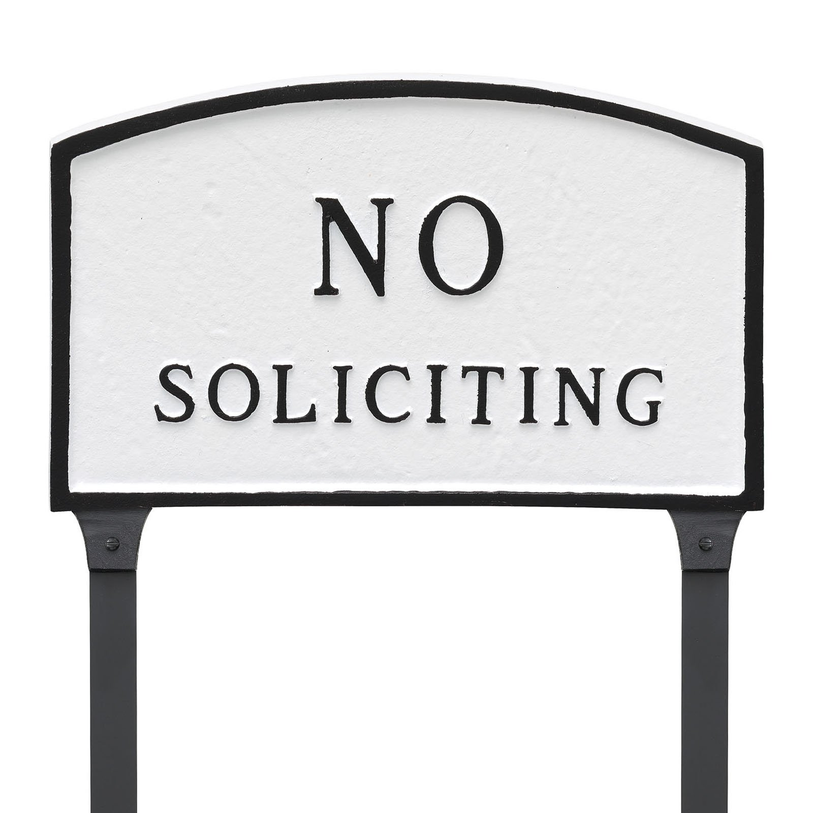 Montague Metal Products No Soliciting Arched Lawn Plaque