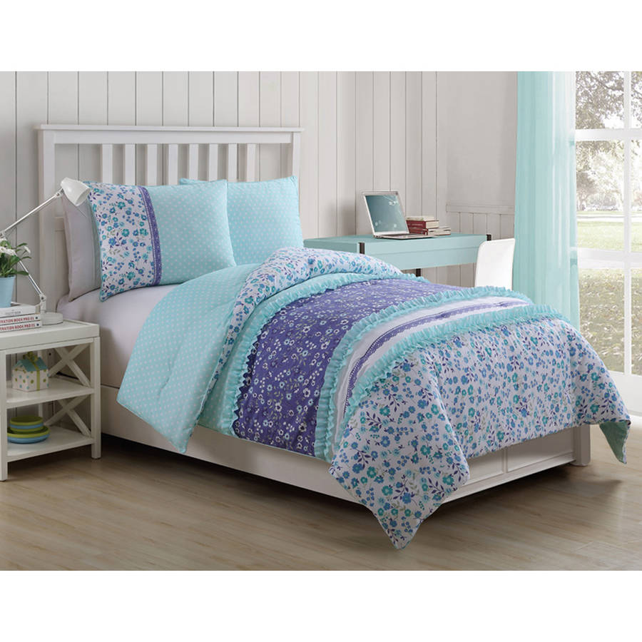 VCNY Cameron Multi-Colored Reversible Floral Ruffle Kids Bedding Comforter Set