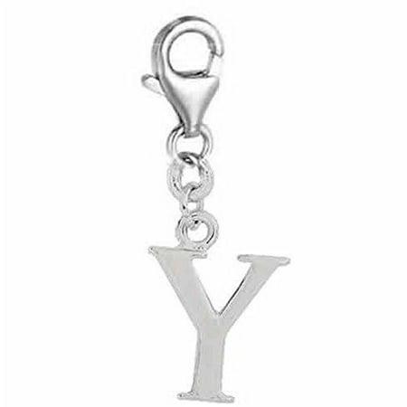 (Dangling Letter Y Clip on Pendant Charm for Bracelet or Necklace)