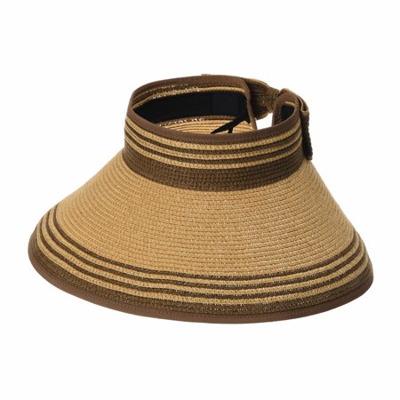 15c0909e4d3 WITHMOONS - WITHMOONS Womens Summer Sun Visor Packable Roll-Up Beach Hat  SLV1033 (Brown) - Walmart.com