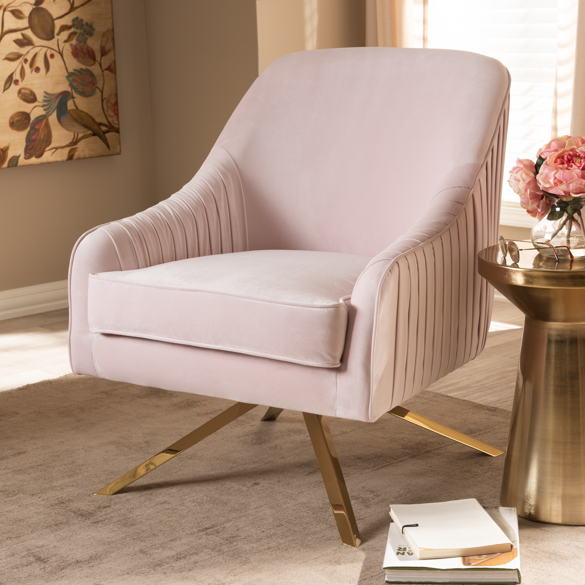 Baxton Studio Amaya Luxe And Glamour Light Pink Velvet Fabric Upholstered Gold Finished Base Lounge Chair by Baxton Studio