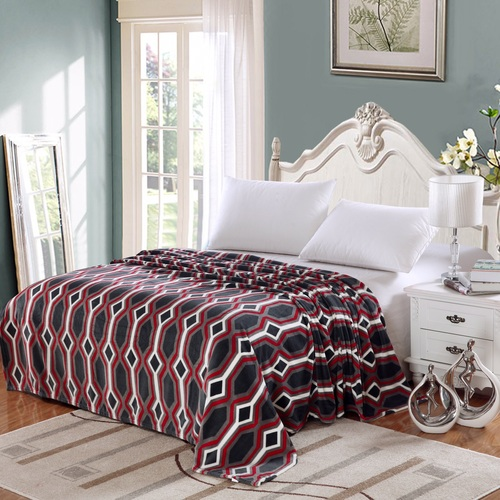 Lauren Geometric Micro Fleece Jacquard Blanket, Bed Throw Blanket (Full, Grey) by Plazatex