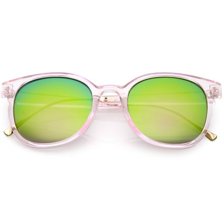 sunglassLA - Modern Translucent Horn Rimmed Sunglasses with Round Mirrored Lens 52mm - (Translucent Round Sunglasses)