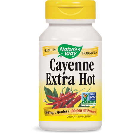 Nature's Way - Cayenne Extra Hot 100,000 HU 100 Capsules 700 Exp.9.18+ SD