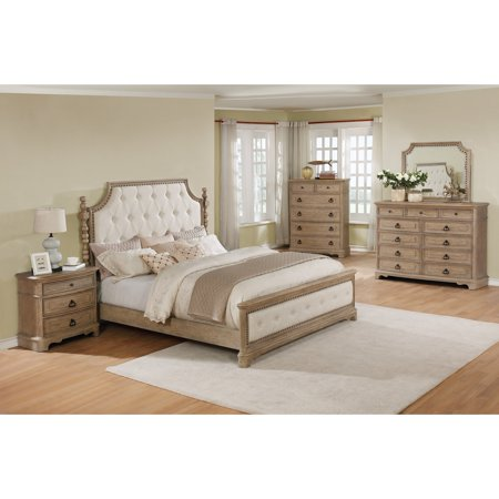 Roundhill Furniture Piraeus 296 Solid Wood Construction Bedroom Set With Queen Size Bed Dresser Mirror Chest And Night Stand