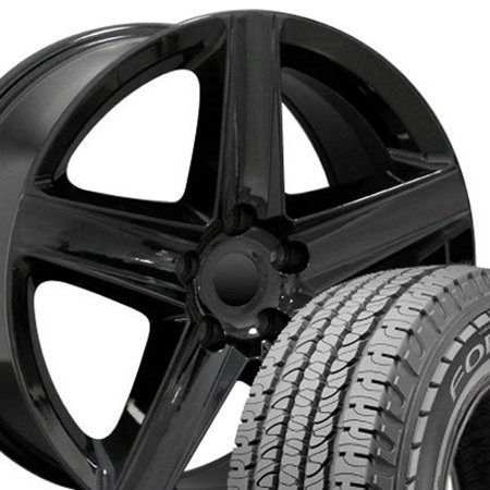 20x9 Wheels & Tires Fit Jeep, Dodge, Chrysler SUV - Grand Cherokee Style Black Rims w/Goodyear Tires, Hollander 9082 - (2017 Jeep Grand Cherokee Trailhawk Tire Size)