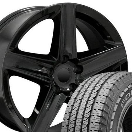 20x9 Wheels & Tires Fit Jeep, Dodge, Chrysler SUV - Grand Cherokee Style Black Rims w/Goodyear Tires, Hollander 9082 -