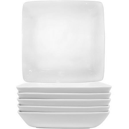 Better Homes & Gardens Loden Square Pasta Bowls, White, Set of 6 (Endless Pasta Bowl)