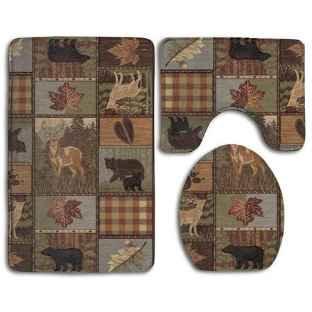 GOHAO Rustic Cabins Moose Deers 3 Piece Bathroom Rugs Set Bath Rug Contour Mat and Toilet Lid Cover (Rustic Rugs Bathroom)