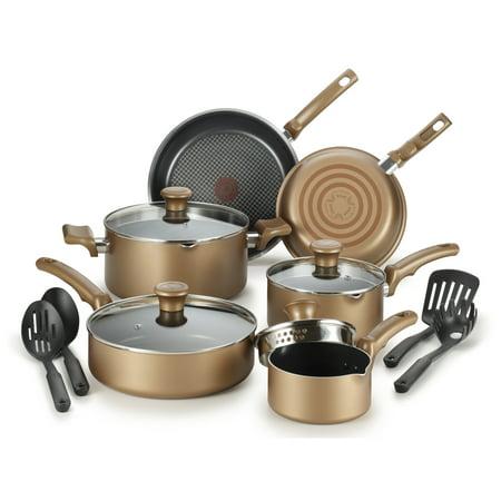 T-Fal, Comfort Titanium Nonstick, Bronze 14 Piece Cookware Set,