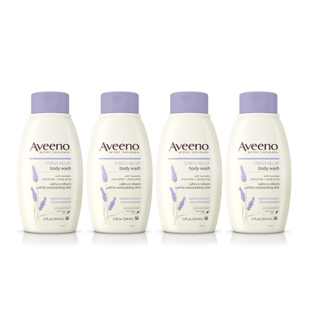 Four Body Jets - (4 Pack) Aveeno Stress Relief Body Wash with Lavender & Chamomile, 12 fl. oz
