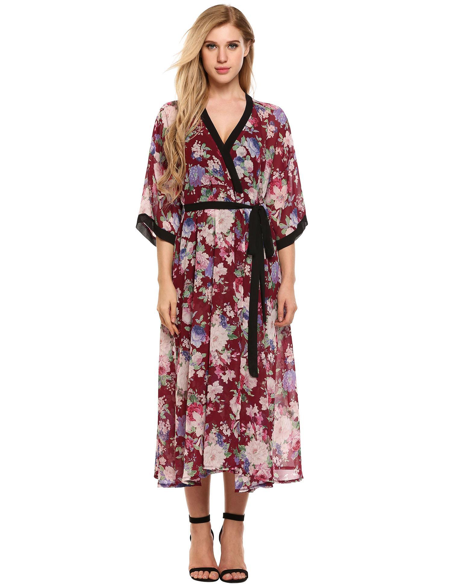 66d347a8037bd 2019 The Newest! Women Loose V Neck 3/4 Sleeve Floral Maxi Chiffon ...